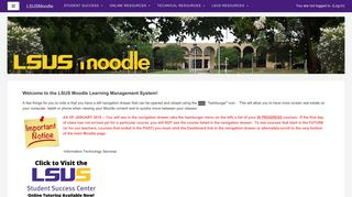Screenshot of Moodle.lsus.edu main page