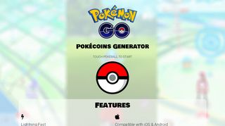 Screenshot of Pokecoinsgrab.com main page